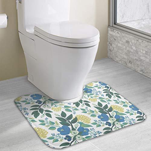 - Blue Flower On White_1702 Bath Mats, Bathroom Carpet Rug Non Slip Toilet mat 19.3x15.8 inch