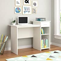 Stylish & Affordable Student Computer Homework Desk, Great for Dorms or Apartments, Features Drawer, Adjustable & Fixed Shelf, Great Assortment of Multiple Finishes & Colors! (White)