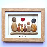 Family of Six - Handmade Pebble Art Picture - Light Frame