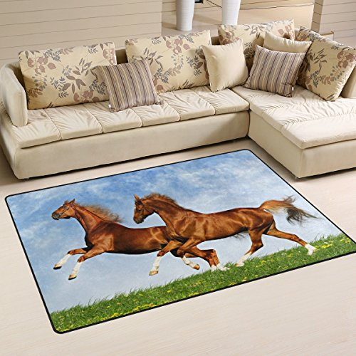LORVIES Two Horses Frolic On The Plain Area Rug Carpet Non-Slip Floor Mat Doormats for Living Room Bedroom 60 x 39 - Frolic Horse