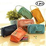 Samaz Pen Bag Pencil Case Large Capacity Canvas Pencil Bag Pouch Stationary Case Makeup Cosmetic Bag (Light Blue)