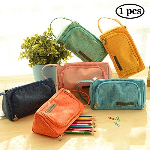 Student Canvas Pen Bag Pencil Case Travel Makeup Bag Pink - 8