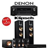 Klipsch RP-280F 5.1-Ch Reference Premiere Home Theater System (Piano Black) with Denon AVR-X3400H 7.2-Channel 4K Network AV Receiver