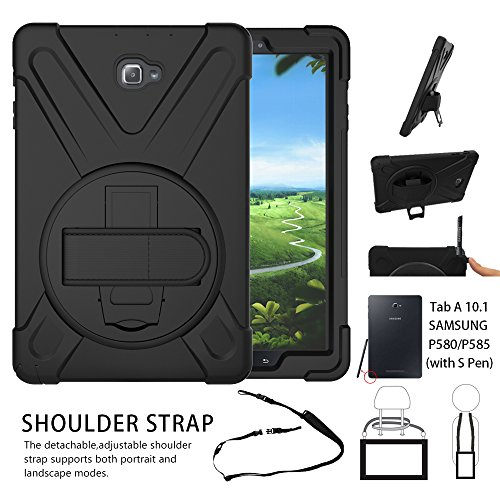 Galaxy Tab A 10.1 Case,Shock-Absorption/High Impact Resistant Heavy Duty Armor Case For Samsung Galaxy Tab A 10.1 Inch Tablet with S Pen SM-P580, W/ Hand strap shoulder belt [Not fit for T580](Black)