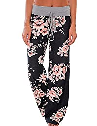 Amstt Women's Floral Print Drawstring Wide Leg High Elastic Waist Casual Pants