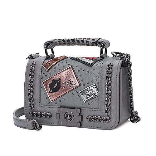 Vicue Women Messenger Bags Rivet Chain Shoulder Bag Leather Crossbody ()