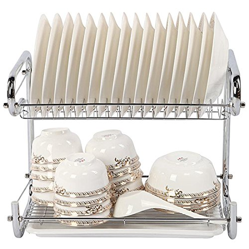 YOMYM 2 Tier Dish Drying Rack and Drainboard Set,Chrome Dish
