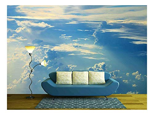 - wall26 - Blue Sky Clouds,Blue Sky with Clouds - Removable Wall Mural | Self-Adhesive Large Wallpaper - 100x144 inches