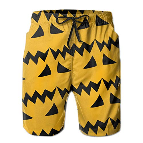(Jack O' Lantern Pumpkin Youth T-Shirt Mens Swim Trunks Quick Dry Board Shorts with Mesh Liner White)