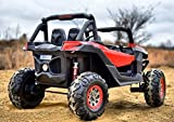 Big rc Cars Battery Operated Ride on Car Two Seater Leather seat Rubber Tires 4 Motors 3 Speed Motorized Car for Kids 2 to 6 Years Color Red
