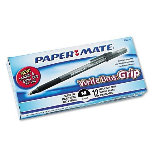 PAPERMATE 8807987 Write Bros Grip Ballpoint Stick Pen, Black Ink, Medium, Dozen