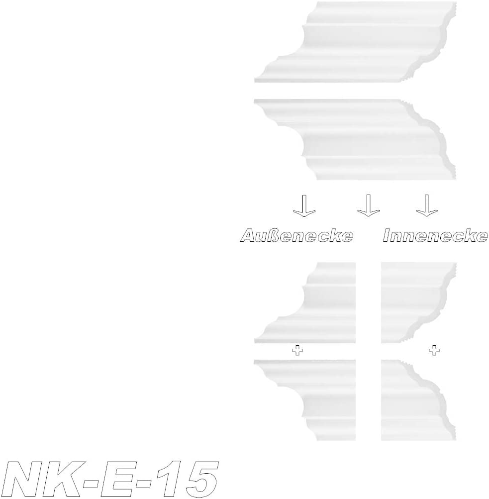 Interior Esquina Btec estuco Decoraci/ón Decorativo para estuco regleta con moldura S de 15 NK de S de 15