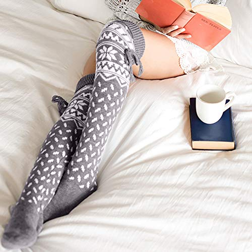 8a9e5a2fc36 Quelife Women Christmas Warm Thigh High Long Stockings Knit Over Knee  Woolen Socks