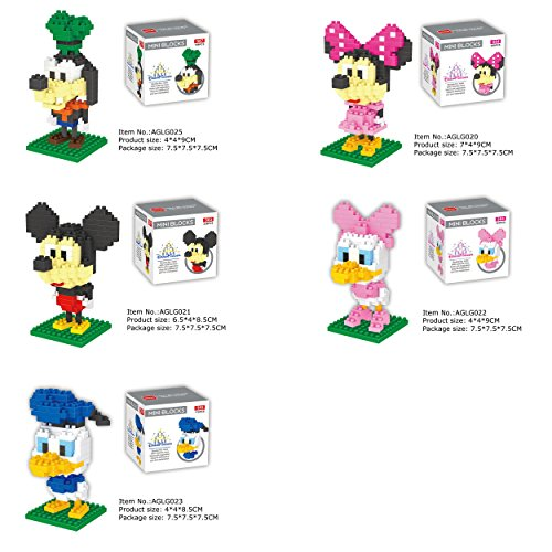 - 5 SET - Dr. Star Mini Block - Disney Mickey Minnie Daisy Donald Goofy Building Block Toy