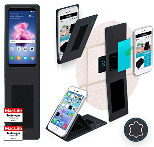 Funda para Huawei P smart en Cuero Rojo - Innovadora Funda 4 en 1-Anti-Gravedad para Montaje en Pared, Soporte de Tableta en Vehículos, Soporte de Tableta - Protector Anti-Golpes para Coches y Paredes Cuero Negro
