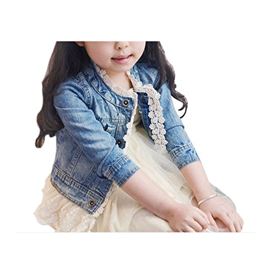 Girls Kids Denim Jean Jacket Lace Cowboy Jacket Outerwear Overcoat Dress Coat by Artfasion