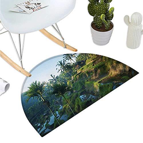 (Balinese Semicircular Cushion Terrace Rice Fields Palm Trees Traditional Farmhouse Morning Sunrise Bali Indonesia Bathroom Mat H 35.4