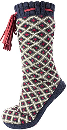 Versace 19.69 - Altos Fuzzy Non-Skid Slipper Socks With Tassel - Large Navy - Versace Customer Service
