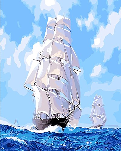 Paint by Numbers Diy Painting,Paint by Number Kit fj0003-landscape Two Sailboat Wooden Framed 16