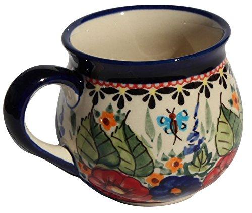 Polish Pottery Mug 8 Oz. From Zaklady Ceramiczne Boleslawiec #1452-149 Art Signature Pattern, Capacity: 8 -
