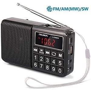 PRUNUS ポータブル SW(短波)FM AM (MW) SD AUX MP3ラジオ