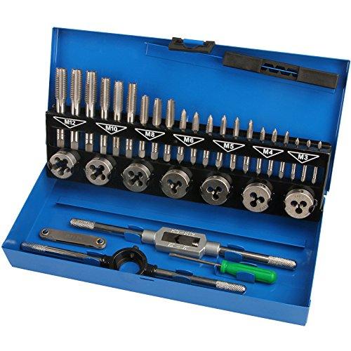 Timbertech Gewindeschneidsatz 32-teilig inkl. 21 Gewindebohrer mit verschiedenen Größen, 7 Schneideisen & praktischer Metallkassette