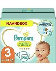 Pampers Maat 3 Premium Protection Luiers, 204 Stuks, MAANDBOX, onze Nummer 1 Luier voor Zachtheid en Bescherming van de Gevoelige Huid (6-10 kg)