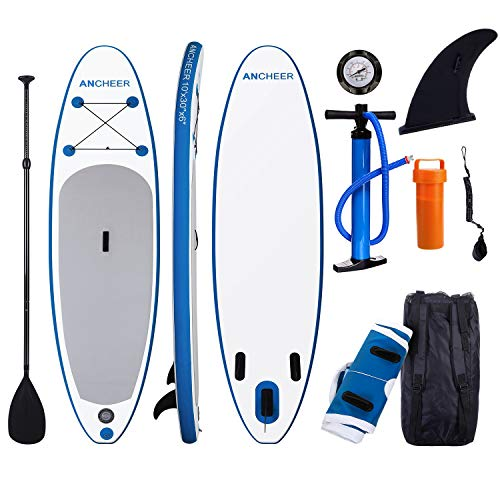 ANCHEER Inflatable Stand Up Paddle Board 10' with Non-Slip Deck, iSUP Boards w/Complete KIT, Adjustable Paddle, Leash, Fin, Hand Pump and Backpack,Youth & - Backpack Adjustable