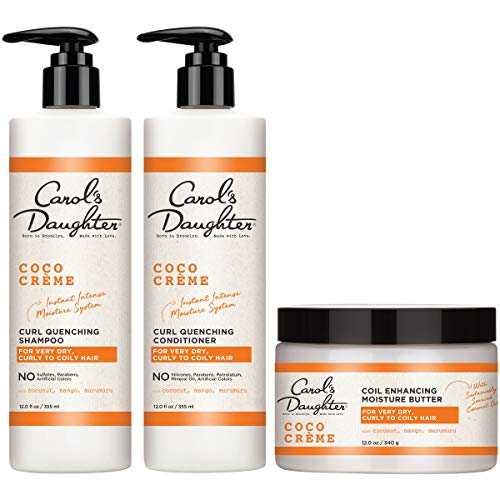 Curly Hair Products Gift Set by Carols Daughter, Coco Creme Sulfate Free Shampoo and Conditioner Set with Silicone Free Hair Butter, for Very Dry Curly Hair, with Coconut Oil and Mango Butter