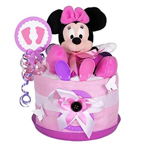 MomsStory Mini-luiertaart voor meisjes, Minnie Mouse Disney, babycadeau voor geboorte, doop, babyshower, 1 verdieping…