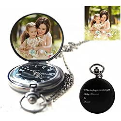 Hua Meng Personalized Pocket Watch Custom Photo Pocket Watch Quartz Watch Engraved with Any Words and Photo,A Great Gift for Father's Day