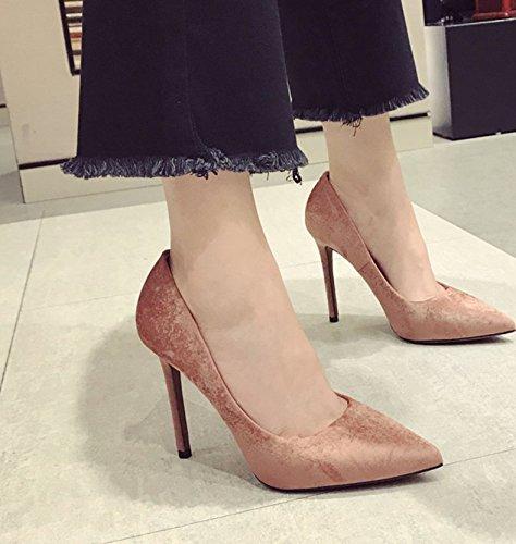 Ajunr Ocio elegante zapatos de y 37 moda 38 retro marrón Sandalias mujer Punta Ocasional 11cm Mujer cómodo puerto luz alto Matt claro zapatos de talón Silvestre Transpirable rrdBnOq