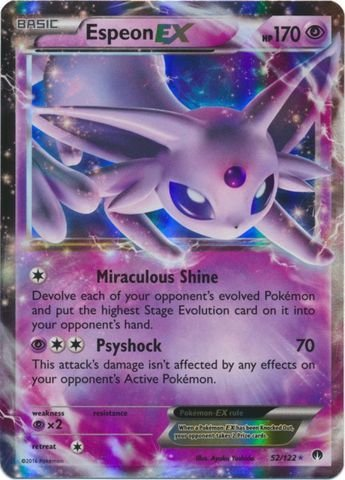 8fe4d75b74c7e Amazon.com: Pokemon - Espeon-EX (52/122) - XY Breakpoint - Holo: Toys &  Games