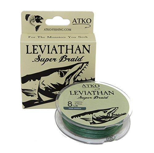 Atko Leviathan Braided Fishing Line- Premium Performance Super Braid (Erie Green, 8lb/125yd)