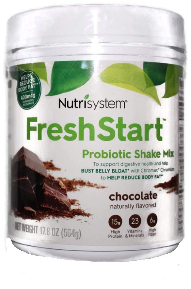 NUTRISYSTEM FRESH START SHAKE (Probiotic Bust Belly Bloat) CHOCOLATE SHAKE MIX 17.8 OZ - 14 Servings - Support Digestive Health & Help Bust Belly Bloat by Fresh Start Shakes (Image #1)