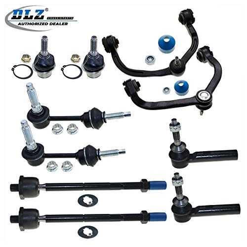 Lincoln Navigator Control (DLZ 10 Pcs Front Suspension Kit-2 Upper Control Arm & Ball Joint Assembly, 2 Lower Ball Joint, 2 Inner 2 Outer Tie Rod End, 2 Sway Bar for 2003-2004 Ford)