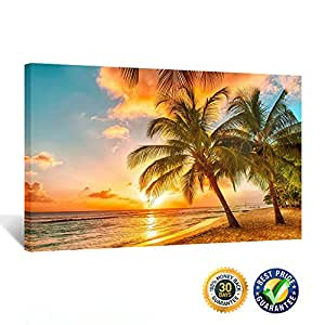 Kreative Arts - Canvas Print for Home Decoration - Sunset Seascape Coco Beach Modern Painting Wall Art Picture Print on Canvas Framed and Ready to Hang 20''x30''