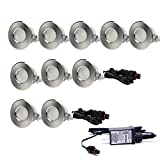 EDOBLUE LED Deck Light Kit Landscape Lighting for Outdoor Ground Stair Patio Garden Floor Corner Sauna Room Bathroom Waterproof IP67 DC12V (0.6W, 10PCS Normal Style)