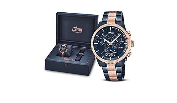 Amazon.com: Lotus Motor Spirits Men Watch 18330/2 Bluel Rose Gold Bezel: Watches
