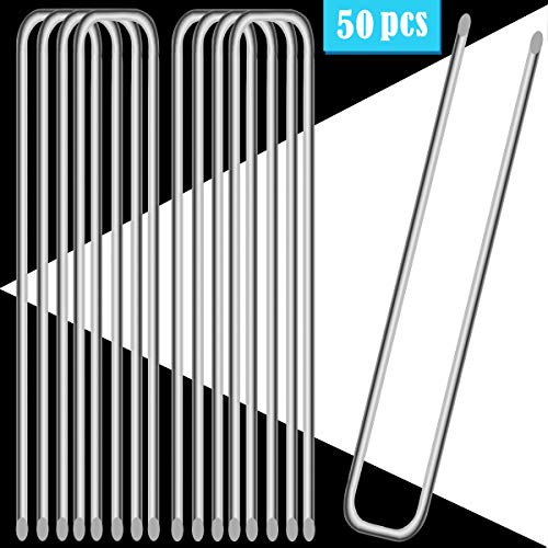 UPlama 50PCS Garden Anti-Rust Galvanized Ground Staples Landscape Sod Stakes, 12″ Garden Stakes/Spikes/Pins/Pegs, Anchor Pins U-Shaped Garden Securing Pegs for Anchoring Tents Landscape Fabric.