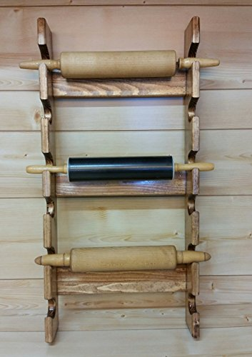 Rolling Pin Rack with Six Slots - Multiple Rolling Pin Rack - Rolling Pin Holder - Rolling Pin Storage - Rolling Pin Display (Rolling Pin Rack)