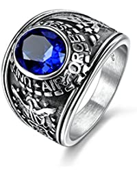 Jewelry Men's Stainless Steel United State Airforce Wide Identify Ring Blue Sapphire Color Stone