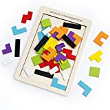 Buself Wooden Tetris Puzzle Brain Teasers Game and Intelligence Toy with 40pcs Vivid Color and Eco-Material for Kids and Adults, Birthday Choice