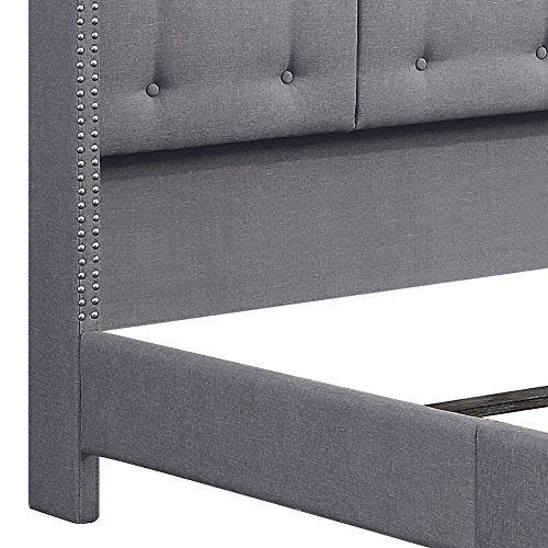 Rosevera Home Ciosa Upholstered Button Tufted Panel Bed with Headboard and Wooden Slats, Queen