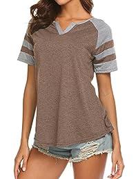 Women's Summer V Neck Raglan Short Sleeve Shirts Casual Blouses Baseball Tshirts Top
