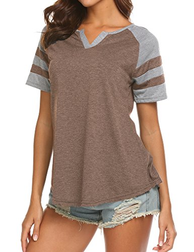 Baseball Hem Short Sleeve Tee (Locryz Women's Summer V Neck Raglan Short Sleeve Shirts Casual Blouses Baseball Tshirts Top (XXL, Coffee))