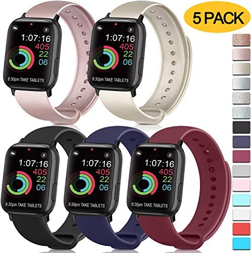 [5 Pack] Silicone Bands Compatible for Apple Watch Band 38mm 40mm 42mm 44mm, Soft Silicone Band Sport Strap Compatible for Apple iWatch Series 5 4 3 2 1