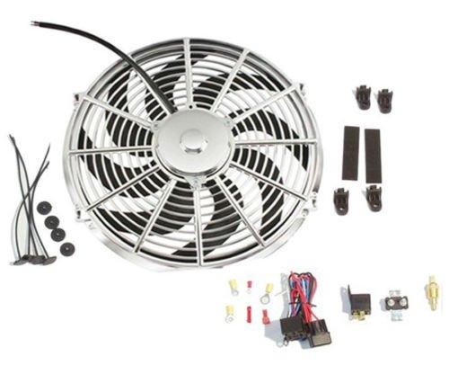 New Chrome 16' Reversable Electric Radiator Cooling Fan 2500cfm &Thermostat Kit DEMOTOR