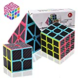 Speed Cube Set, Carbon Fiber Sticker Puzzle Cube Bundle Magic Cube Set of 2x2x2 3x3x3 Pyramid Speedcube