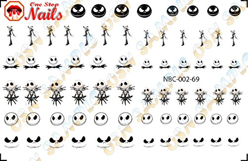 Nightmare Before Christmas Gel Nails - Jack Skellington Set of 69 Clear waterslide nail decals for NBC-002-69 by One Stop Nails